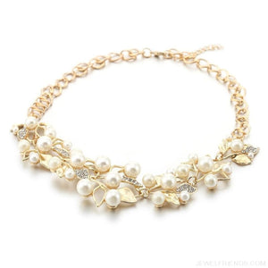 Pearl Leaves Statement Necklace