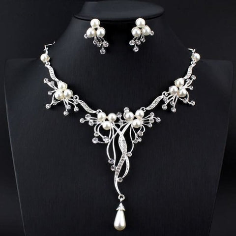 Image of Pearls Crystal Statement Bridal Jewelry Sets - Custom Made | Free Shipping