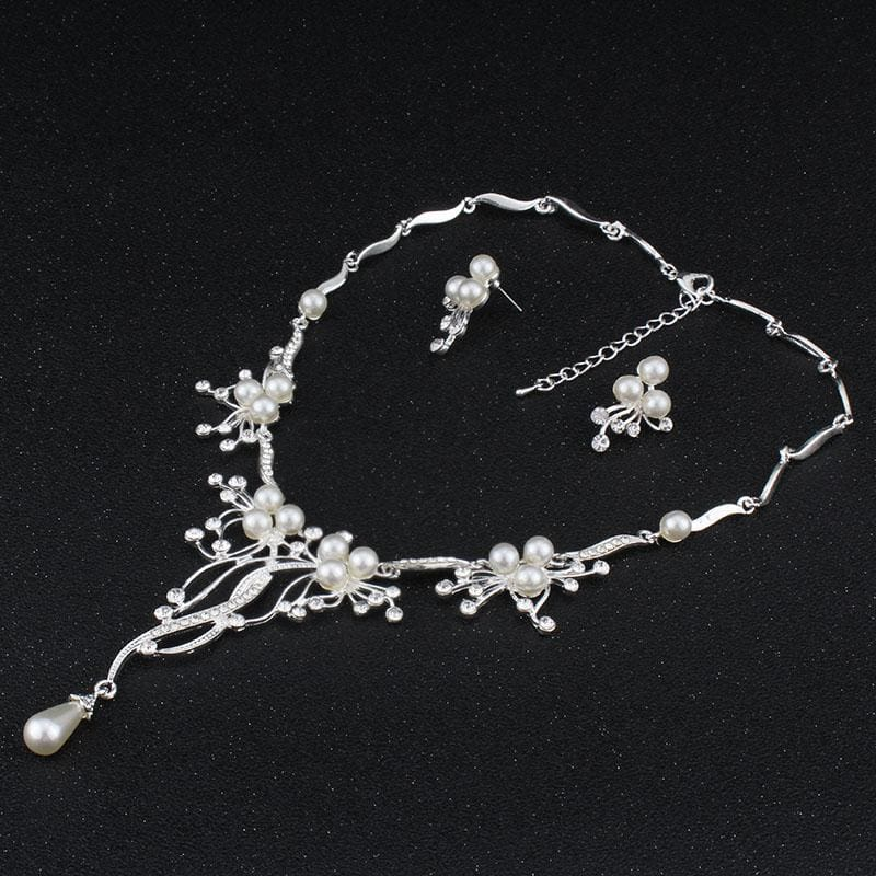 Pearls Crystal Statement Bridal Jewelry Sets - Custom Made | Free Shipping