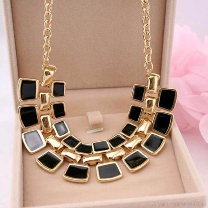 Pendants Link Chain Collar Long Plated Enamel Statement Bling & Fashion Necklace - Black - Custom Made | Free Shipping