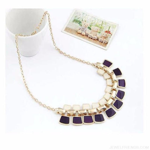 Image of Pendants Link Chain Collar Long Plated Enamel Statement Bling & Fashion Necklace - Custom Made | Free Shipping
