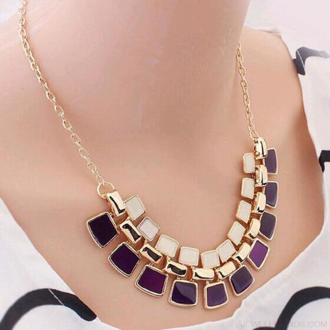 Pendants Link Chain Collar Long Plated Enamel Statement Bling & Fashion Necklace - Purple - Custom Made | Free Shipping