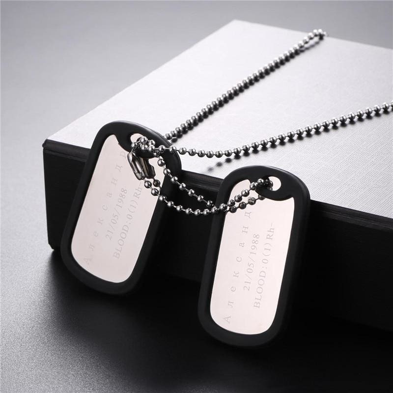 Personalized Name Chain Stainless Steel Long Trendy Pendant Necklace Military Army Style - Custom Made | Free Shipping