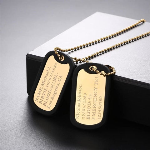 Image of Personalized Name Chain Stainless Steel Long Trendy Pendant Necklace Military Army Style - Custom Made | Free Shipping