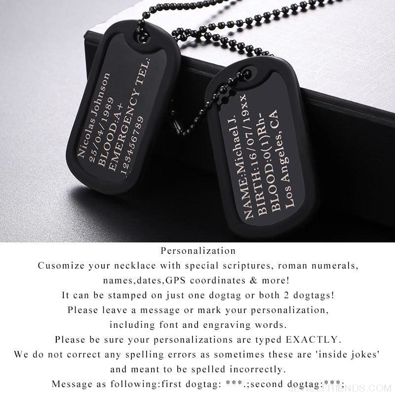 Personalized Name Chain Stainless Steel Long Trendy Pendant Necklace  Military Army Style