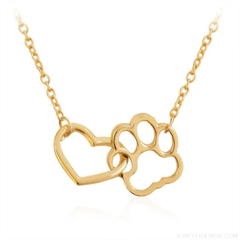 Pet Paw Footprint & Heart Necklaces - Gold - Custom Made | Free Shipping