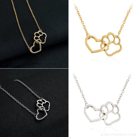 Image of Pet Paw Footprint & Heart Necklaces - Custom Made | Free Shipping