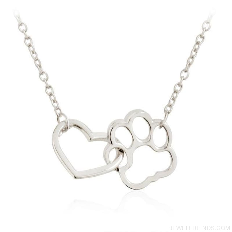 Pet Paw Footprint & Heart Necklaces - Silver - Custom Made | Free Shipping