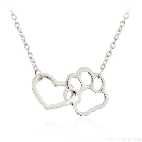Image of Pet Paw Footprint & Heart Necklaces - Silver - Custom Made | Free Shipping