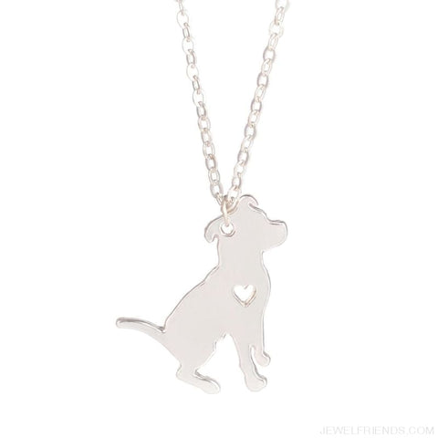 Image of Pit Bull Silhoutte Dog Breed Necklace - Custom Made | Free Shipping