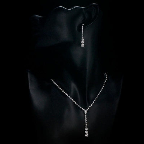 Image of Plated Celebrity Style Drop Crystal Necklace Earrings Set - Custom Made | Free Shipping