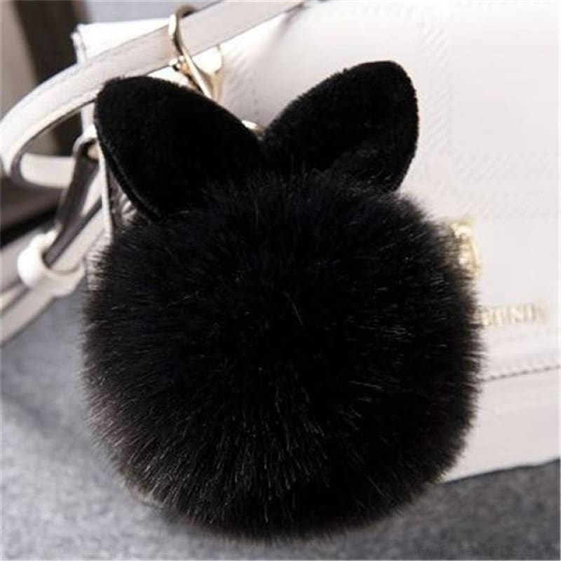 Pom Pom Rabbit Ears Fake Fur Keyring - Black - Custom Made | Free Shipping