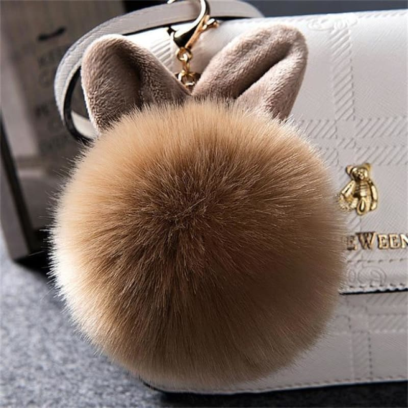 Pom Pom Rabbit Ears Fake Fur Keyring - Coffee - Custom Made | Free Shipping
