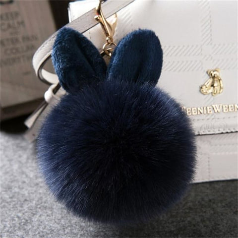 Pom Pom Rabbit Ears Fake Fur Keyring - Dark Blue - Custom Made | Free Shipping