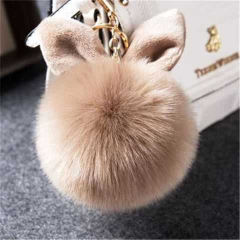 Image of Pom Pom Rabbit Ears Fake Fur Keyring - Kaki - Custom Made | Free Shipping