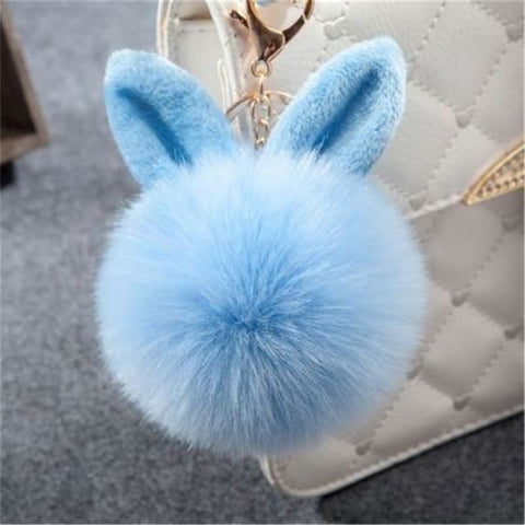 Image of Pom Pom Rabbit Ears Fake Fur Keyring - Light Blue - Custom Made | Free Shipping