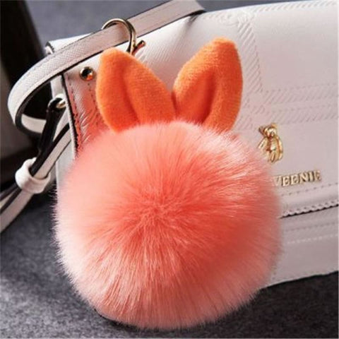 Image of Pom Pom Rabbit Ears Fake Fur Keyring - Orange - Custom Made | Free Shipping