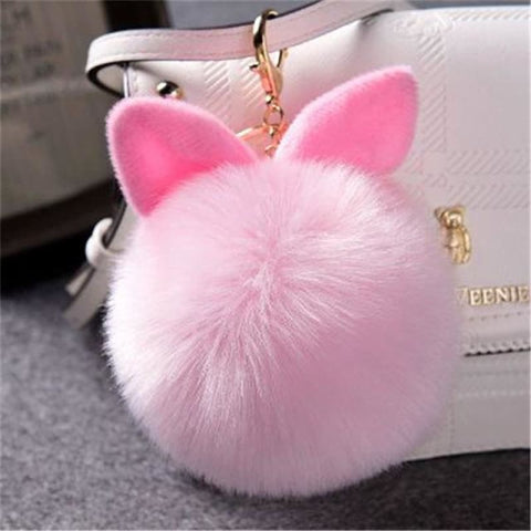 Image of Pom Pom Rabbit Ears Fake Fur Keyring - Pink - Custom Made | Free Shipping