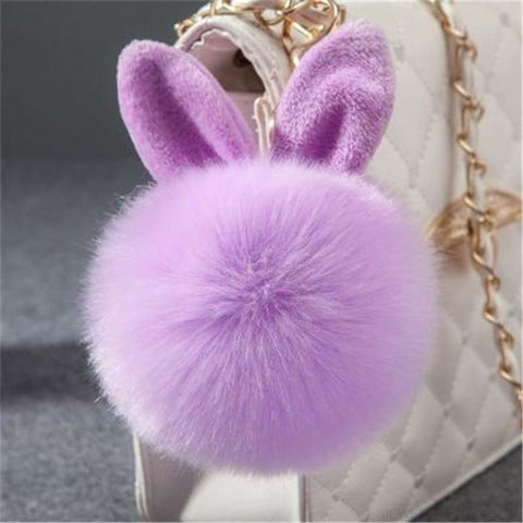 Pom Pom Rabbit Ears Fake Fur Keyring - Purple - Custom Made | Free Shipping