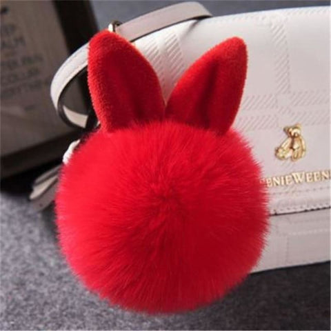 Image of Pom Pom Rabbit Ears Fake Fur Keyring - Red - Custom Made | Free Shipping