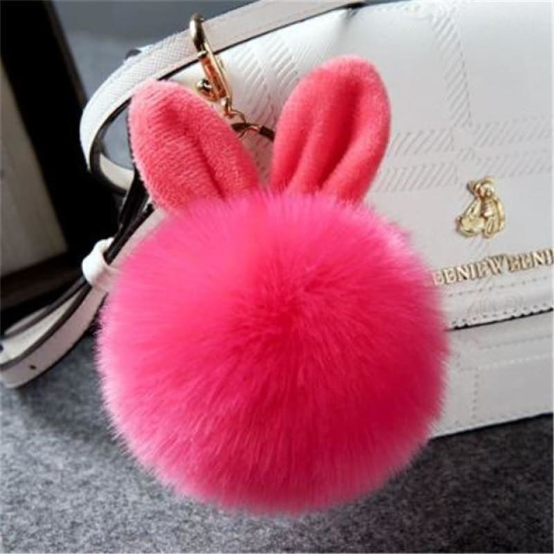 Pom Pom Rabbit Ears Fake Fur Keyring - Waterlon - Custom Made | Free Shipping