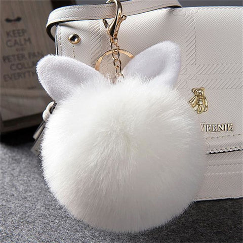 Image of Pom Pom Rabbit Ears Fake Fur Keyring - White - Custom Made | Free Shipping