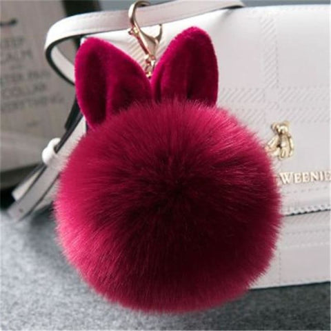 Image of Pom Pom Rabbit Ears Fake Fur Keyring - Wine - Custom Made | Free Shipping