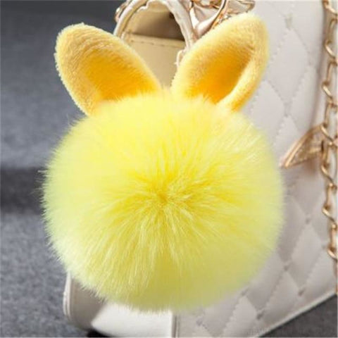 Image of Pom Pom Rabbit Ears Fake Fur Keyring - Yellow - Custom Made | Free Shipping