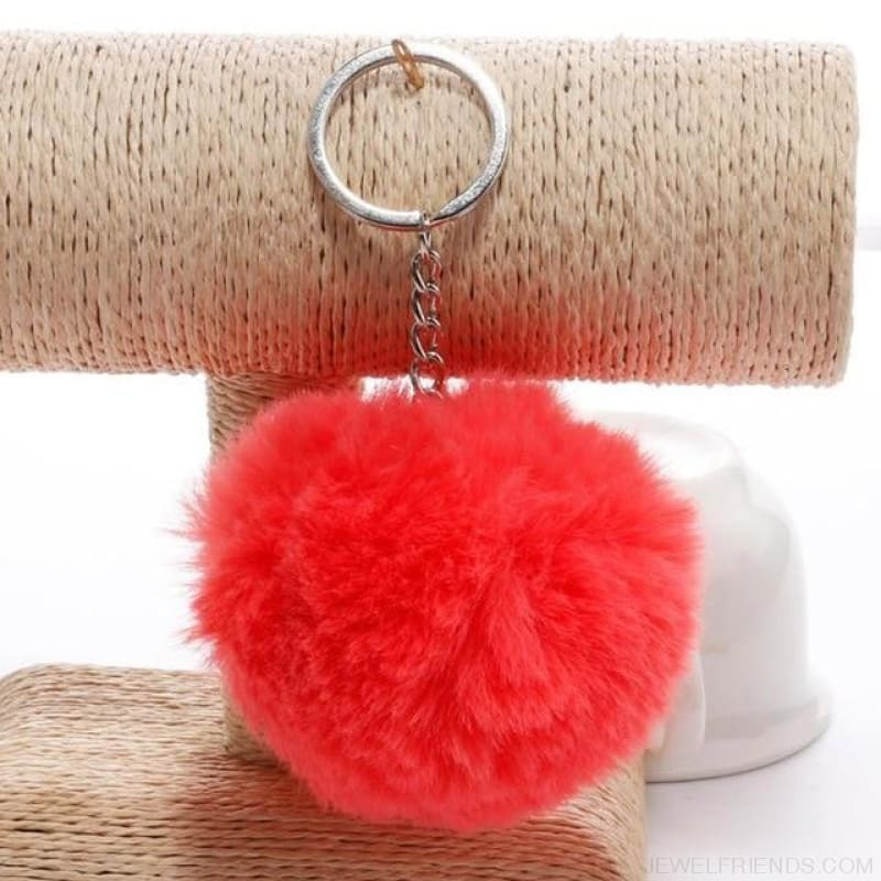 Pompom Imitation Fur Ball - Watermelon Red - Custom Made | Free Shipping