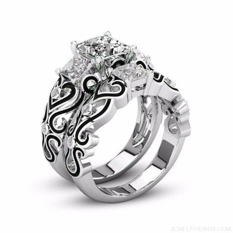 Princess White Gold Filled Rings - 5 / Black / Platinum Plated - Custom Made | Free Shipping