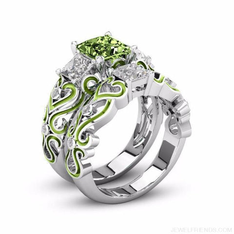 Princess White Gold Filled Rings - 5 / Olive Green / Platinum Plated - Custom Made | Free Shipping