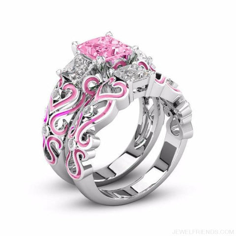 Princess White Gold Filled Rings - 5 / Pink / Platinum Plated - Custom Made | Free Shipping