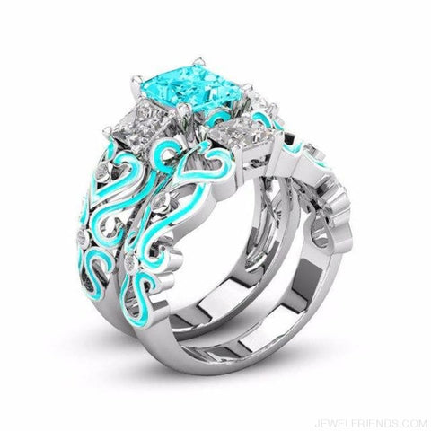 Princess White Gold Filled Rings - 5 / Skyblue / Platinum Plated - Custom Made | Free Shipping