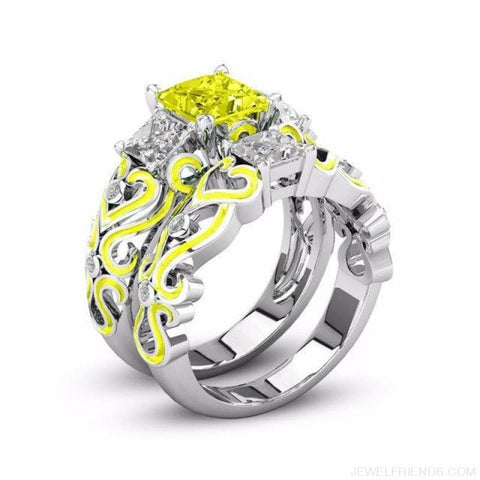 Princess White Gold Filled Rings - 5 / Yellow / Platinum Plated - Custom Made | Free Shipping