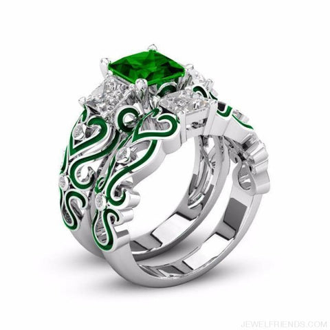 Princess White Gold Filled Rings - 6 / Green / Platinum Plated - Custom Made | Free Shipping