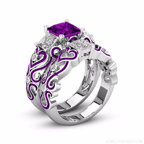 Princess White Gold Filled Rings - 6 / Purple / Platinum Plated - Custom Made | Free Shipping