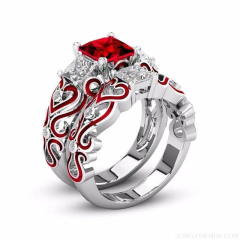 Princess White Gold Filled Rings - 6 / Red / Platinum Plated - Custom Made | Free Shipping