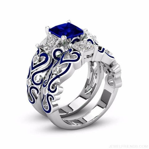 Princess White Gold Filled Rings - 6 / Royblue / Platinum Plated - Custom Made | Free Shipping