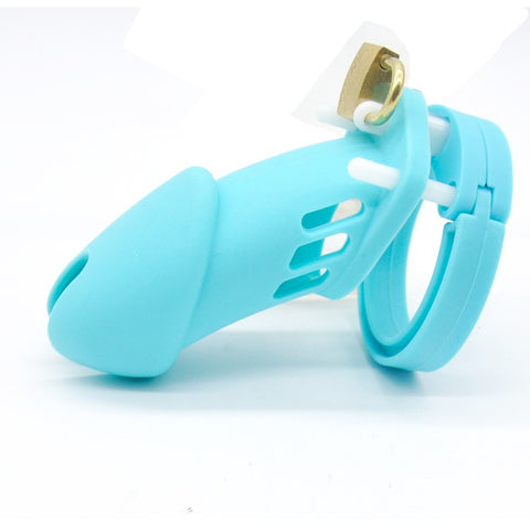 Image of Male Silicone Chastity Device Cock Cage Sex Toys With 5 Penis Ring Adult Belt Brass Lock Standard/Short Cage