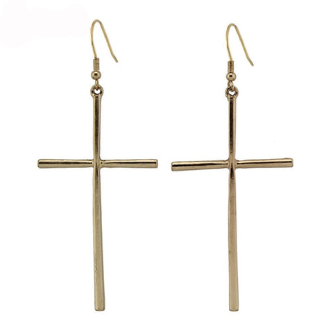 Lady Dangle Cross Earring
