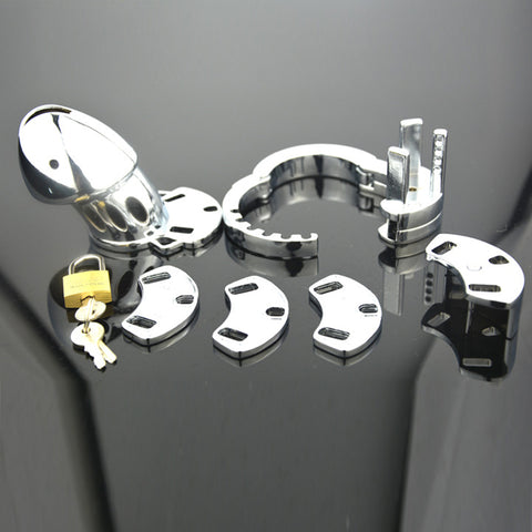 Image of Male Chastity Device Metal Chastity Cage With Adjustable Cock Ring Penis Lock NOFAP Toy Men Restraint Chastity Belt
