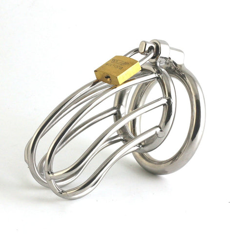 Image of Male Chastity Devices Stainless Steel Cock Cage For Men Metal Chastity Belt Penis Ring NOFAP Toys Cock Lock Bondage Adult Products