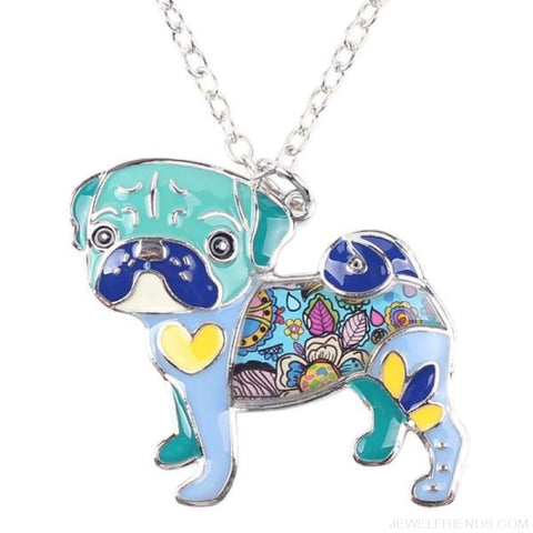 Image of Pug Colorful Pattern Dog Necklace - Blue - Custom Made | Free Shipping