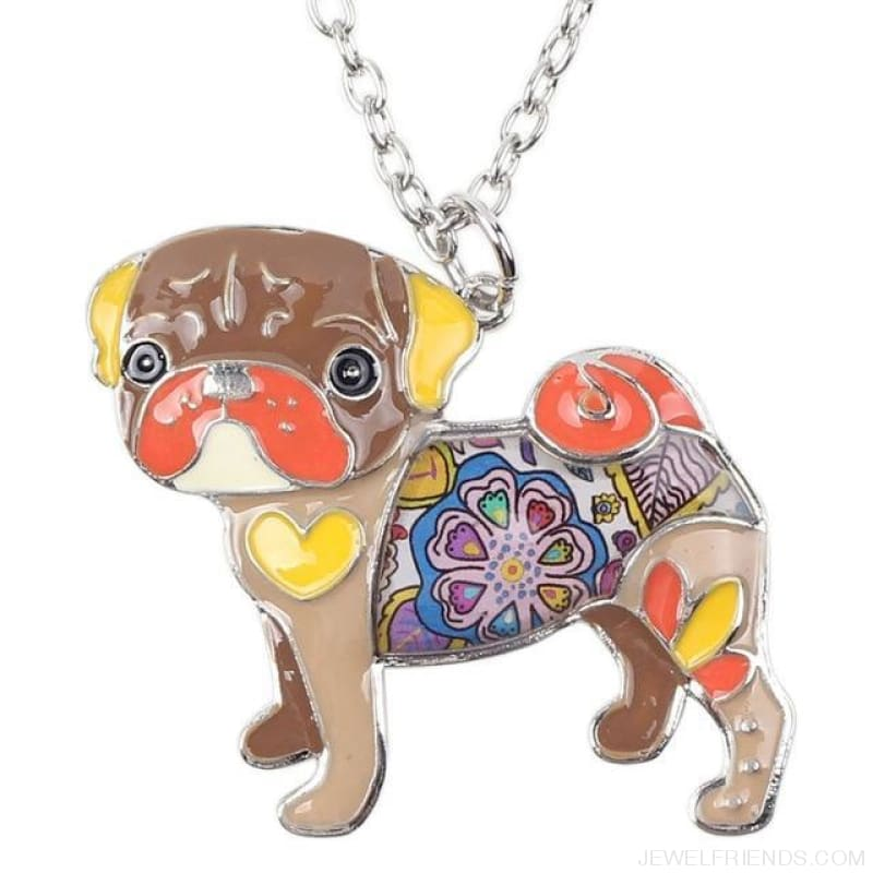 Pug Colorful Pattern Dog Necklace - Brown - Custom Made | Free Shipping