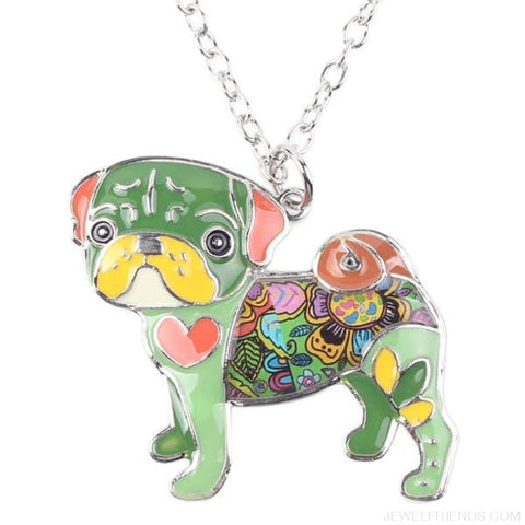 Image of Pug Colorful Pattern Dog Necklace - Green - Custom Made | Free Shipping