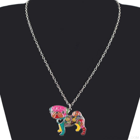 Image of Pug Colorful Pattern Dog Necklace - Custom Made | Free Shipping