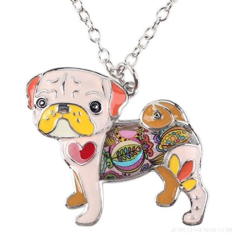 Image of Pug Colorful Pattern Dog Necklace - Pink - Custom Made | Free Shipping