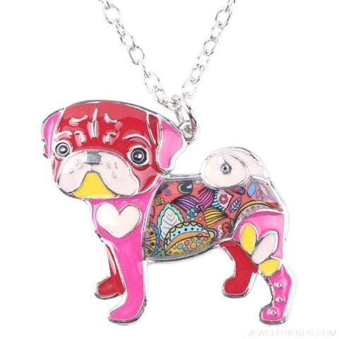 Image of Pug Colorful Pattern Dog Necklace - Red - Custom Made | Free Shipping