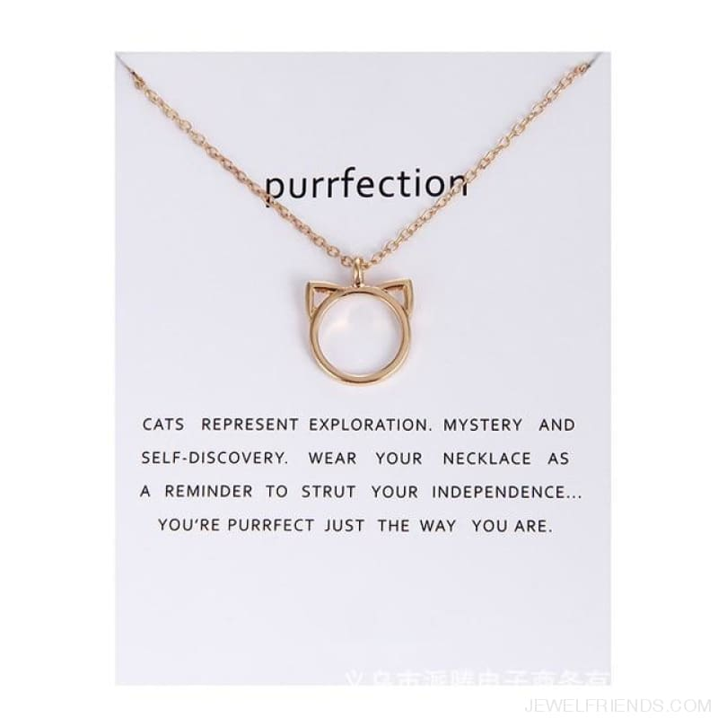 Purrfection Cat Shape Circle Necklace - Gold Have Card - Custom Made | Free Shipping