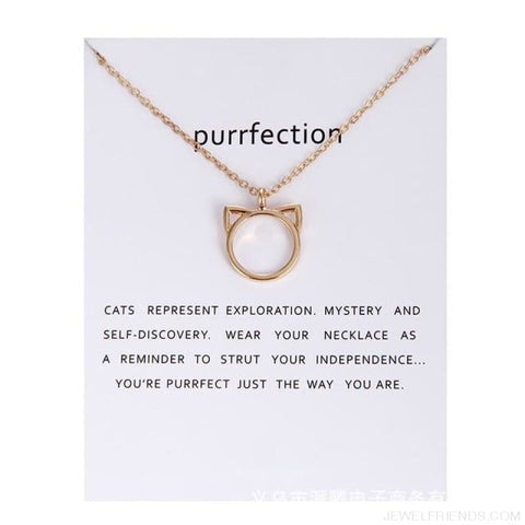 Image of Purrfection Cat Shape Circle Necklace - Gold Have Card - Custom Made | Free Shipping